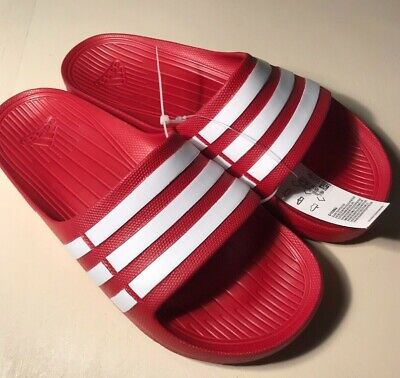 7f9a998e3961 Adidas Duramo Slides G15886 Red White Slides Sandals Flip Flops Slippers Nwt