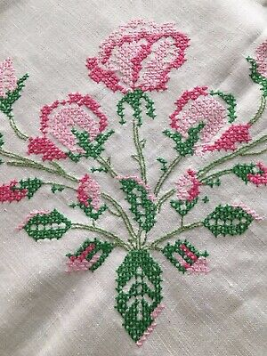Beautiful Vintage Cross-Stitch Tablecloth Pink Green Beige Scalloped 56 x 74