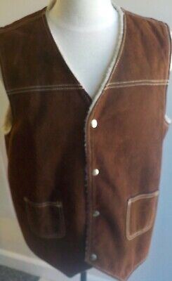 Sears The Leather Shop Western Ranch Vest Sherpa Lined Men's SZ XL Brown