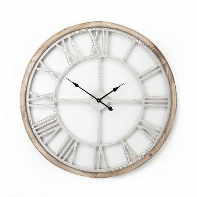 HUGE large WHITE GOLD CRACKLE WALL CLOCK Wood 93cm Roman Numerals shabby chic