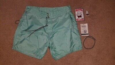 63d68b2d45 Vintage Birdwell Beach Britches Light Blue Nylon Surf Shorts Size 34 NEW