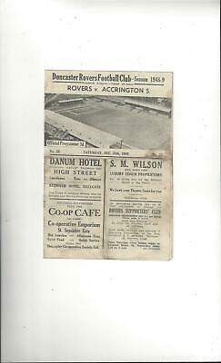 Doncaster Rovers v Accrington Stanley Football Programme 1948/49