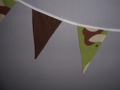 Army camo Fabric Wall Hanging boys Bedroom/playroom  Bunting 7  flags bedding