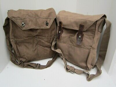 Finnish Army Surplus Issue Brown Canvas Respirator Haversack,Fin,Gas Mask Pouch