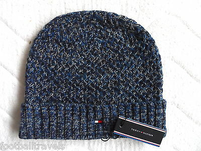 TOMMY HILFIGER ADEL BLUE LAMBSWOOL BEANIE Tuque MENS Mutze Hat NEW WITH TAGS