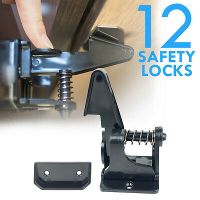 Cabinet Locks Child Safety Latch Baby Proof Lock Drawer 12 Pack Black