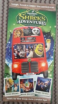 Dreamworks Tours Shrek's Adventure London promo flyer gatefold  plus Madagascar