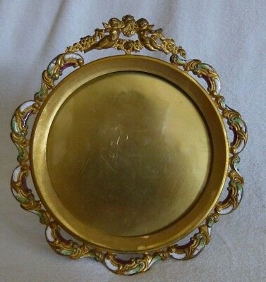 "Antique French Ormolu Champleve Enamel Bronze Gilt Easel Picture Frame 5""Cherubs"