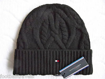 TOMMY HILFIGER CHUNKY KNIT WOOL Black BEANIE ETON Tuque Mutze Hat NEW WITH TAGS