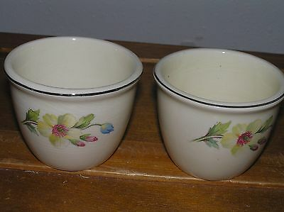 Vintage Lot of 2 Cream with White Pink Orange Flower Porcelain Custard Cups –