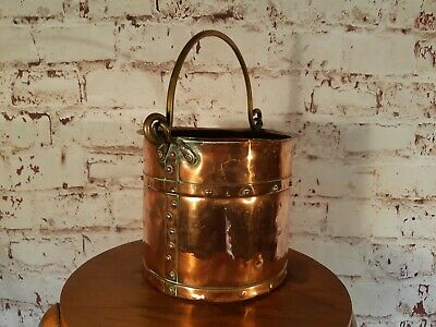Antique Old Solid Copper Riveted Victorian Georgian Ice Champagne Bucket Planter