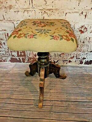 Antique Victorian Edwardian Adjustable Wooden Tapestry Piano Stool Rise And Fall