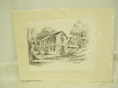 Vintage Hancock Clark House Drawing By Jas F. Murray