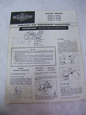 Vintage Briggs & Stratton Operating and Maintenance Instructions