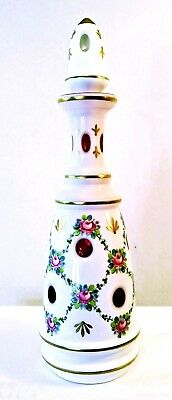 """Antique Bohemian Moser White Overlay Cut to Cranberry Glass Decanter 14.5"""""""
