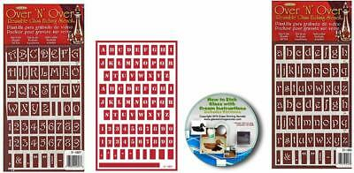 Pack 3 Reusable Adhesive Upper Case /& Lower Case Letter Stencils with Crests