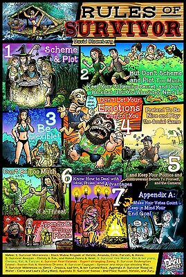 Rules of Survivor Poster - Rules by David Bloomberg, Designed by Dabu Doodles