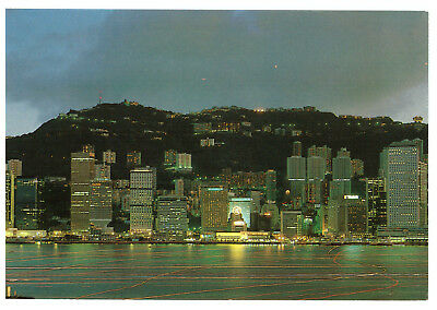 The Central District of Hong Kong by Night, China Rare Picture Postcard