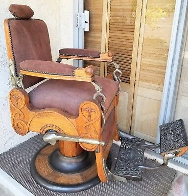 KOKEN FLEUR DE LIS Antique oak hydraulic reclining rotating barber chair restord