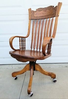 RARE! Antique c1900 American Tiger Oak large adjustable Banker's chair armchair
