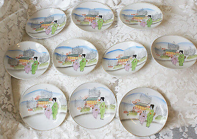 Ten Vintage Japanese Geisha Saucers Ideal for Tea Parties Weddings