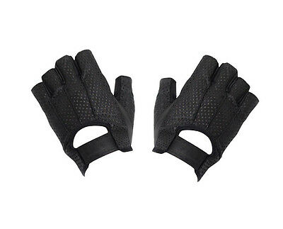 ec3e0db0650a31 MENS WOMENS PERFORATED Fingerless Black Leather Gel Palm Motorcycle ...