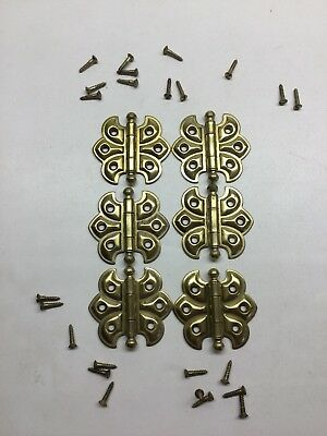 3 Vintage Pairs Of Brass Plated Cabinet Cupboard Hinges
