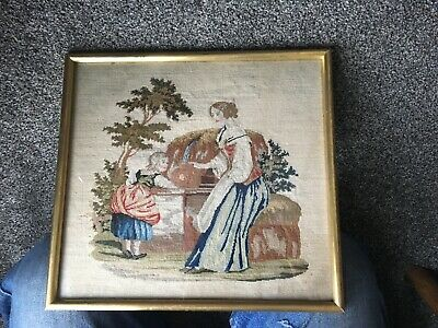 Old Antique Victorian Needlepoint Embroidery Tapestry Picture Mother Girl Maid