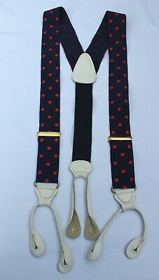 Vintage Nicholson & Tredgold London Grosgrain Blue & Red Spotted Button Braces