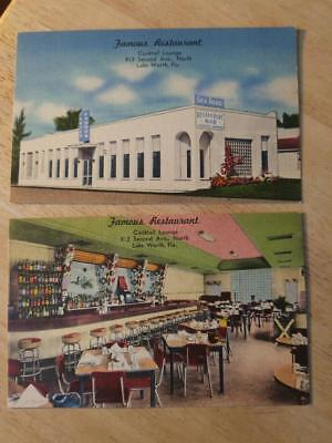 2 Linen Unposted Postcards-Famous Restaurant-Lake Worth-Florida-Second Ave North