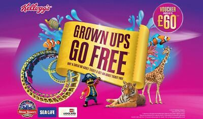 Adult Free ONLINE CODE - Alton Towers Legoland Chessington Thorpe Park Sea Life