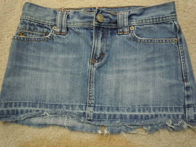 9f8e037578 ABERCROMBIE & FITCH sz 0 Blue Jean Mini Skirt Distressed Denim Frayed Hem  Womens