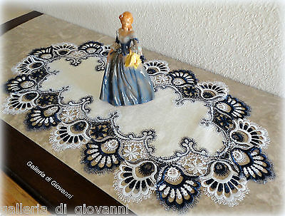 "Delicate Trim BLUEBERRY BLUE Lace Table Runner Doily  27""  Estate Design"