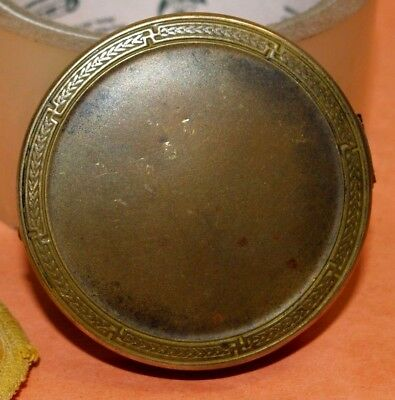 Vintage 1924 Art Deco Colgate & Co Brass Round Vanity Powder Compact Made in USA
