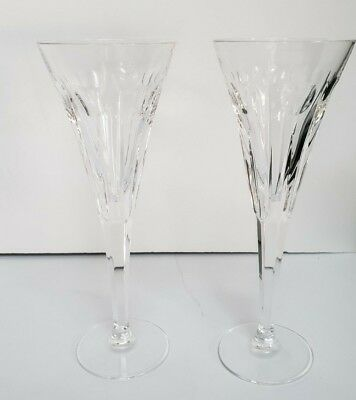 """Pair Waterford Crystal Champagne Flutes 9.25"""" Millennium Series """"Love"""" Hearts"""