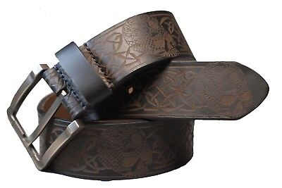 Genuine American Leather Skull Belt Size 28 to 50- *4.3mm Thick Leather!!!*