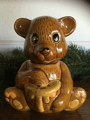 Brown Yellow Hand Painted Honey Bear Dish Old 1990s Ceramic Jar FREE G.W.