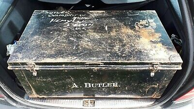 Large Old Metal Shipping Trunk coffee table with the name A Butler
