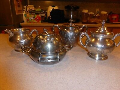 Antique Britannia  Silver Plate Quadruple Set Tea Coffe Pot Milk 4 Pieces
