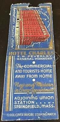 Matchbook Cover Hotel Charles Springfield MA F.W. Peverley