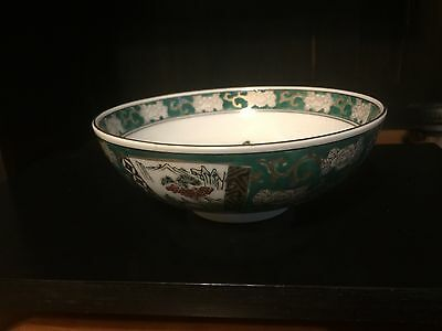 Collectible Gold IMARI Style Porcelain Bowl JAPAN Green Gold Birds Bridges