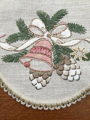 German Linen Christmas Star-Shaped Tablecloth Topper Bells Pine Cone Spruce Vtg