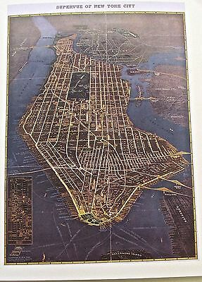 New York City Historic Map Reproduction of Supervue of New York City in 1934