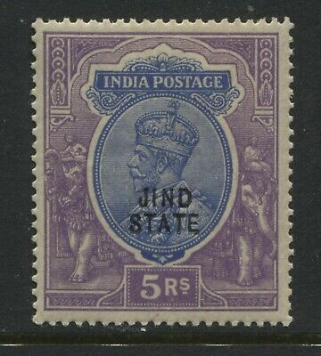India KGV 1927 overprinted Jind State 5 rupees mint o.g.