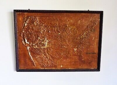 Relief Map of United States CENTRAL SCHOOL SUPPLY HOUSE Chicago 1899 Oak Frame