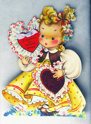 """8.5"""" DELUXE vntg valentine, real ribbon, flocking, stand, ADD'L SHIP FREE 297:61"""