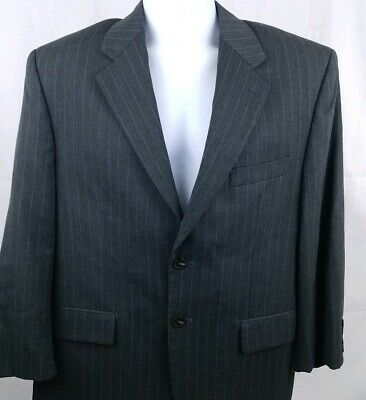 Chaps Men's Sports Coat 40S Charcoal Gray Striped 100% Wool 2 Button Vented EUC