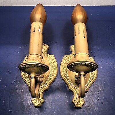 Antique Pair Yellow Brass Patina Decorative Sconces Newly Wired 64B