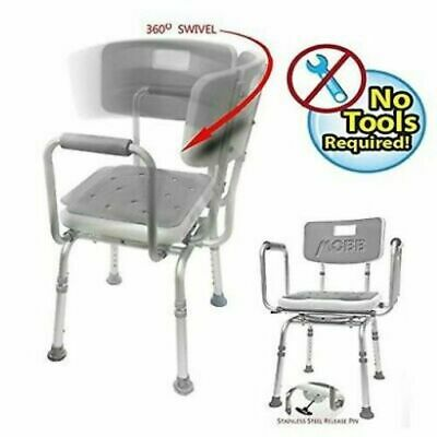 MOBB Premium Bathroom Swivel Shower Chair Bath Bench with Back,360 Swivel Padded