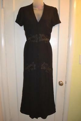 MERRITT CHARLES vintage 40s Style OLD HOLLYWOOD Lace inset DRESS  xs